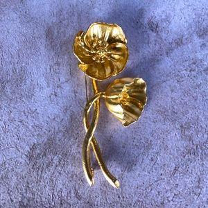 Kenzo Gold Tone Flower Brooch